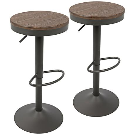 Dakota Brown And Gray Swivel Adjustable Barstool Set Of 2