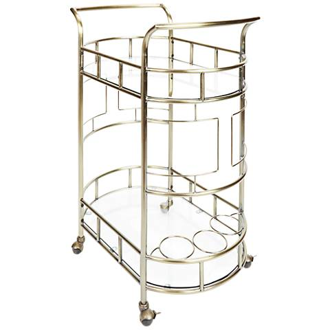 Sinclair Antique Gold and Glass 2-Tier Serving Cart