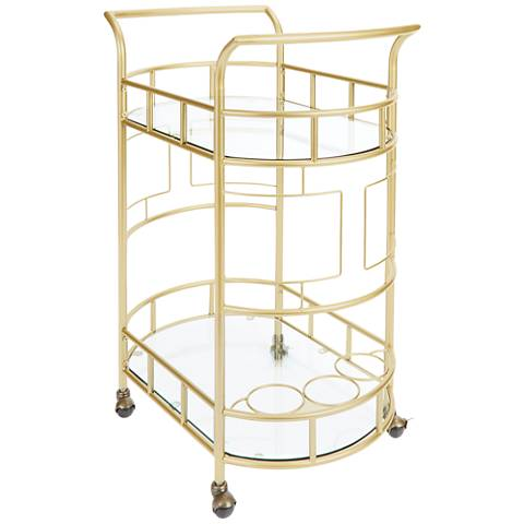 Sinclair Brass and Glass 2-Tier Serving Cart