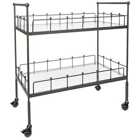 Fitz Bronze and Glass 2-Tier Rectangular Serving Cart