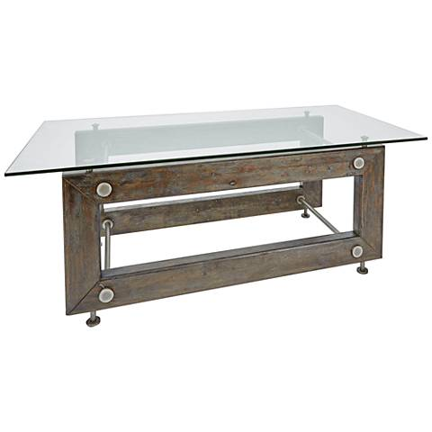 Knox Industrial Glass Top and Wood Rectangular Coffee Table