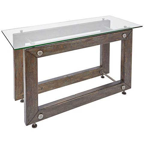 Knox Industrial Glass Top and Wood Rectangular Console Table