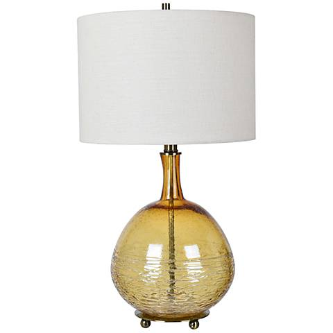 Crestview Collection Halo Yellow-Amber Glass Jug Table Lamp