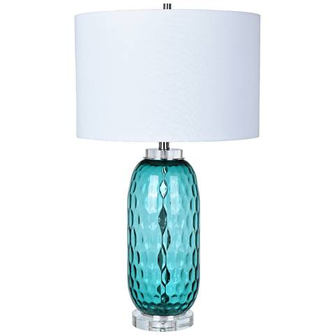 Crestview Collection Intrada Blue Dimple Glass Jug Table Lamp