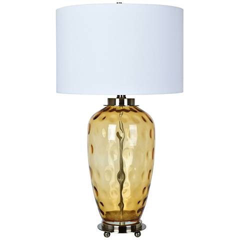 Crestview Collection Convex Amber Dimple Glass Table Lamp