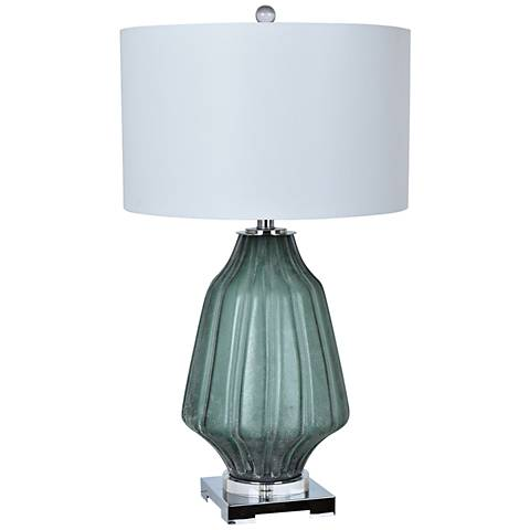Crestview Collection Dara Green Fluted Glass Table Lamp