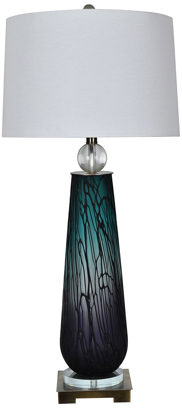 Crestview Collection Astor Blue And Purple Glass Table Lamp