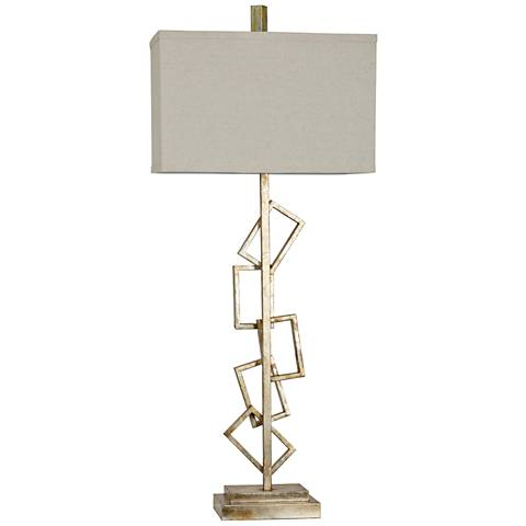 Crestview Collection Temple Silver Stacked Rectangle Table Lamp