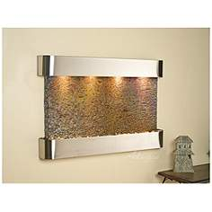 sunrise springs 35h round steel indoor slate wall fountain - Slate Wall Fountains Indoor