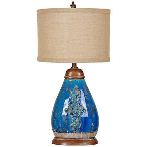 Crestview Collection Providence Blue Ceramic Urn Table Lamp