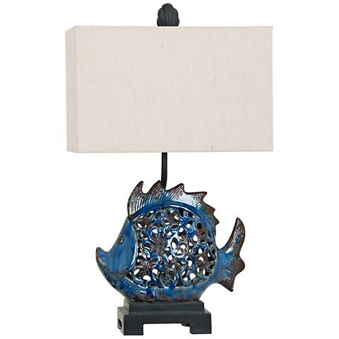 Crestview Collection Scales Blue Ceramic Nightlight Table Lamp