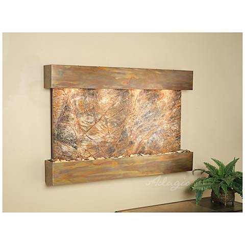 "Sunrise Springs 35"" High Rustic Brown Marble Indoor Fountain"