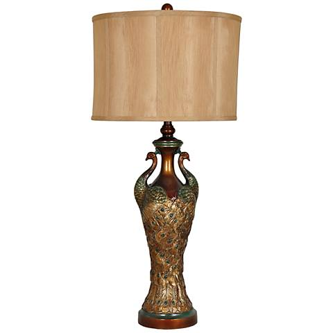 Crestview Collection Peacock Antique Gold Traditional Table Lamp