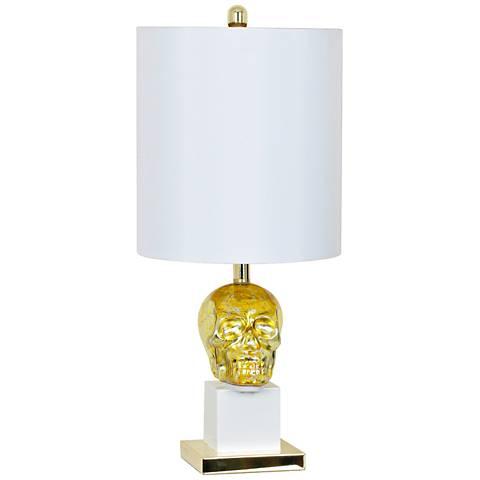 Crestview Collection Golden Skull Sculptural Glass Table Lamp