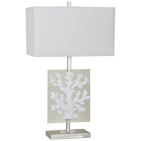 Crestview Collection White Coral Glass Modern Coastal Table Lamp