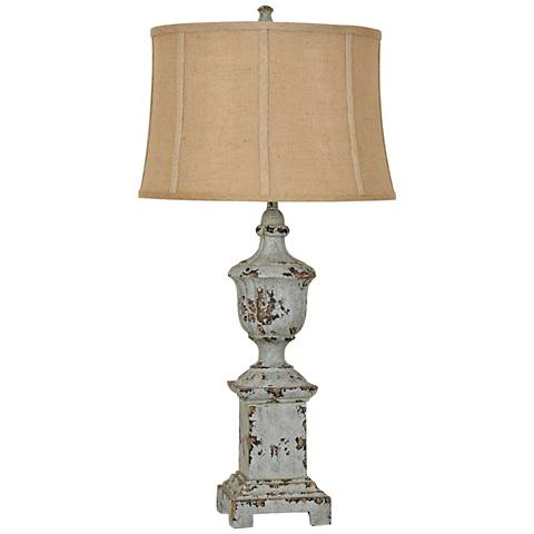 Crestview Collection French Heritage Distressed Blue Table Lamp
