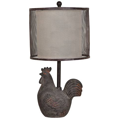 Crestview Collection Rusty Rooster Black Metal Mesh Table Lamp