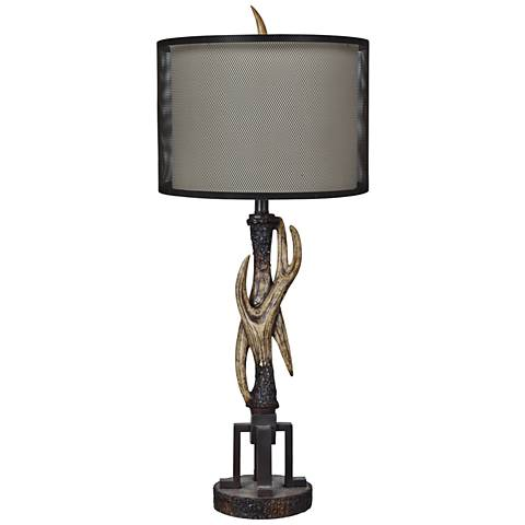Crestview Collection Industrial Antler Antiqued Black Table Lamp