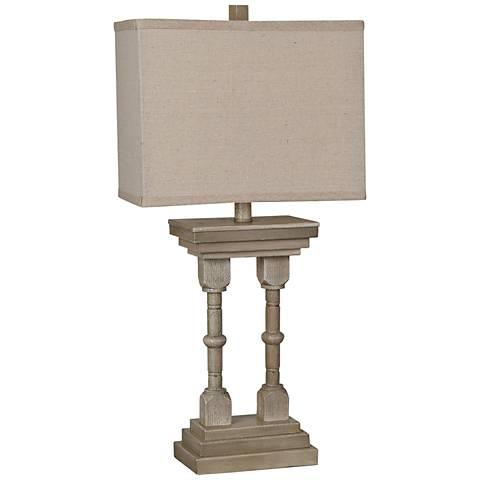 Crestview Collection Double-Column Bleached Woodgrain Table Lamp