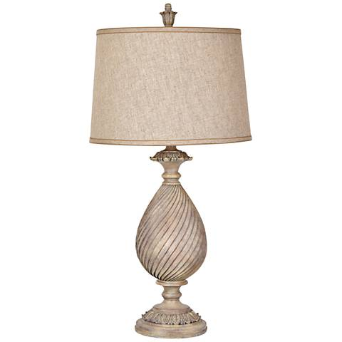 Crestview Collection Sutton Bleached Woodgrain Urn Table Lamp