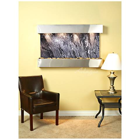 "Sunrise Springs 35""H Black Marble Indoor Steel Wall Fountain"