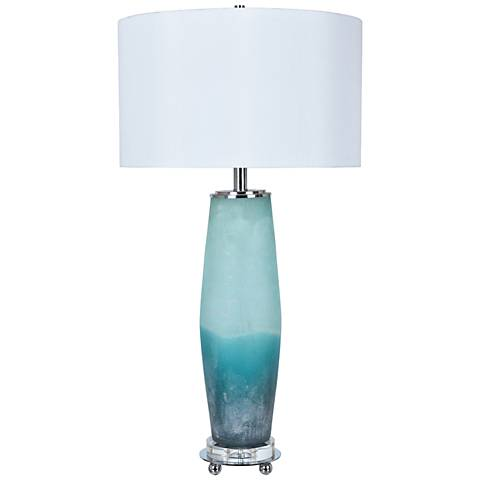 Crestview Collection Seaside Frosted Blue Glass Table Lamp