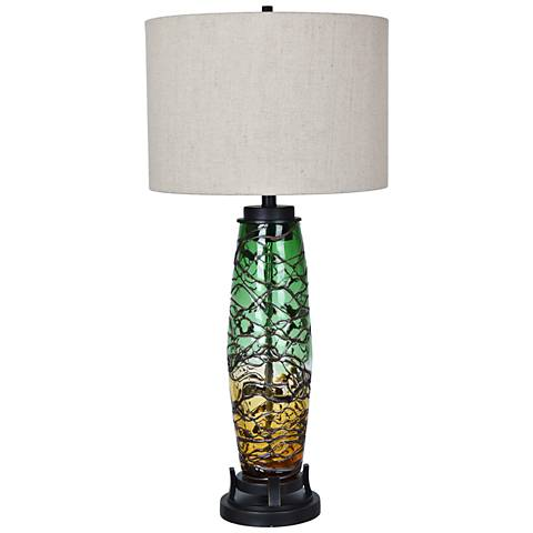 Crestview Collection Harlow Amber and Green Glass Table Lamp