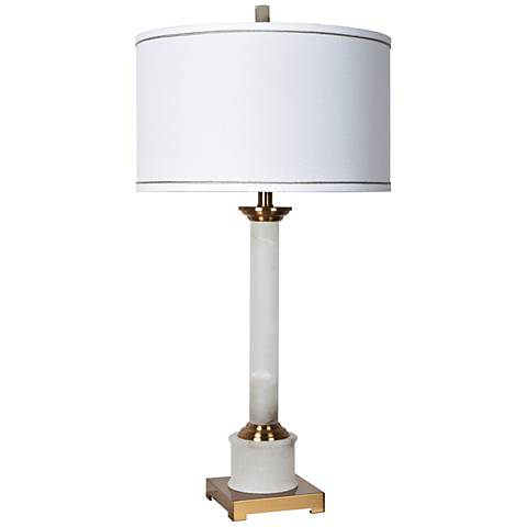 Crestview Collection Hilton White Marble Column Table Lamp