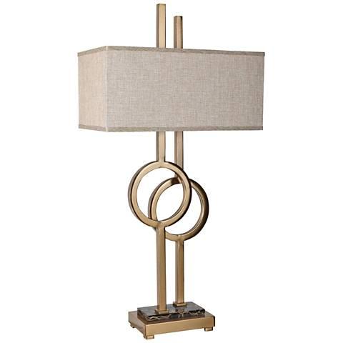 Crestview Collection Vinny Golden Sculptural 2-Light Table Lamp
