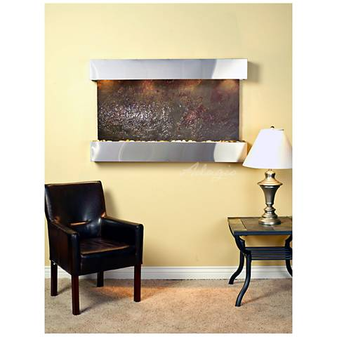 """Sunrise Springs 35""""H Featherstone Indoor Steel Wall Fountain"""