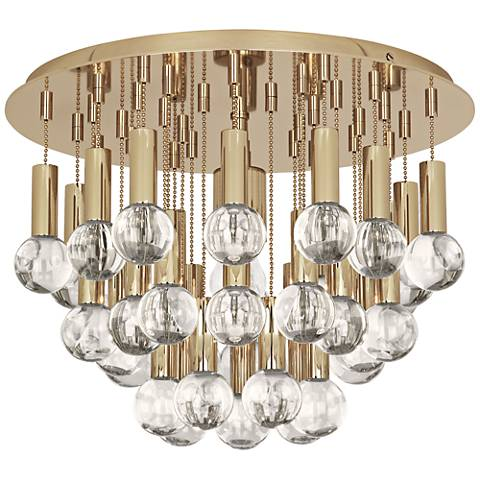 "Jonathan Adler Milano 14 3/4""W Polished Brass Ceiling Light"