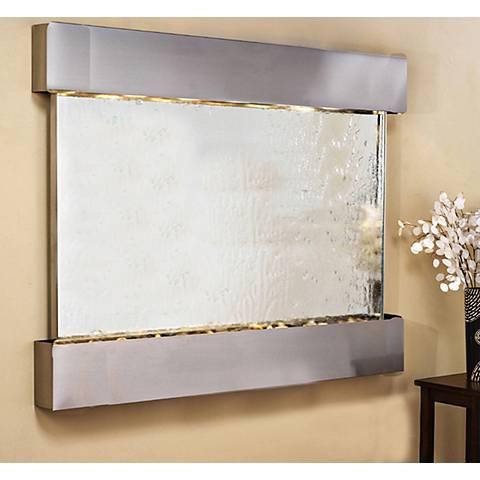 "Teton Falls 45""H Steel Silver Mirror Fountain-Square Edges"