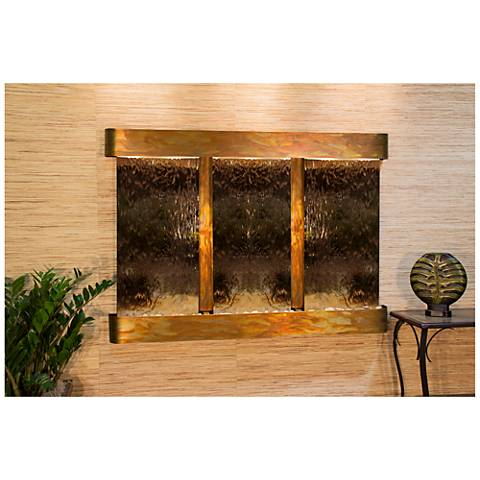 """Olympus Falls 54""""H Round Rustic Bronze Indoor Wall Fountain"""