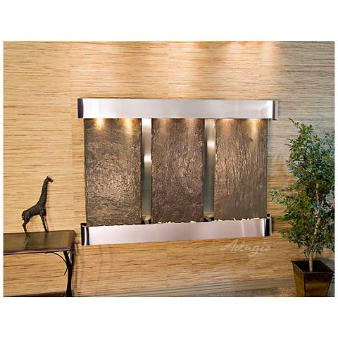 """Olympus Falls 54""""H Natural Slate Round Indoor Wall Fountain"""