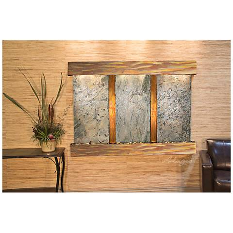 "Olympus Falls 54""H Rustic Green Slate Indoor Wall Fountain"