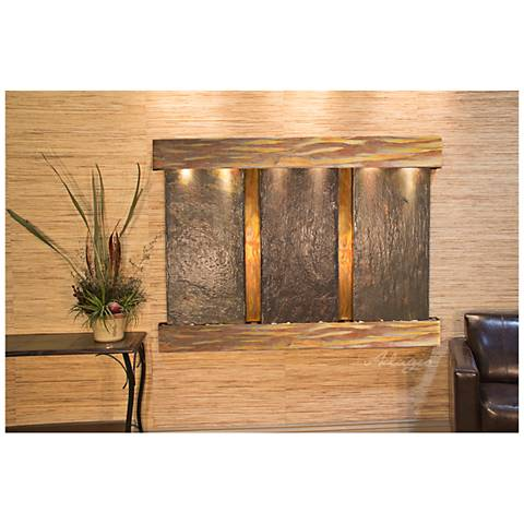 "Olympus Falls 54""H Rustic Natural Slate Indoor Wall Fountain"