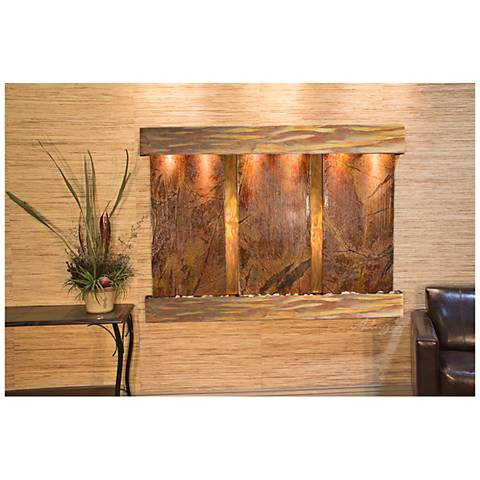 """Olympus Falls 54""""H Rustic Brown Marble Indoor Wall Fountain"""