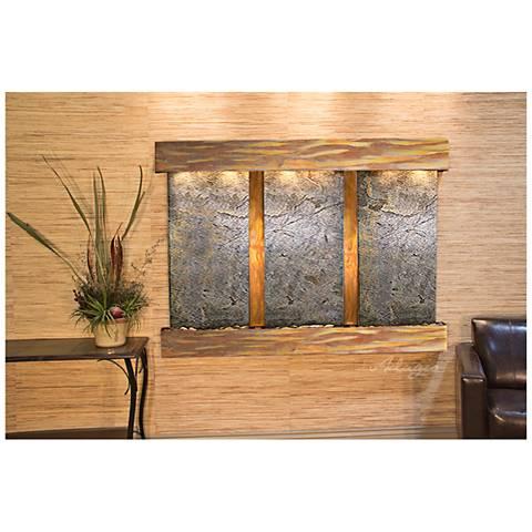"Olympus Falls 54""H Rustic Green Stone Indoor Wall Fountain"