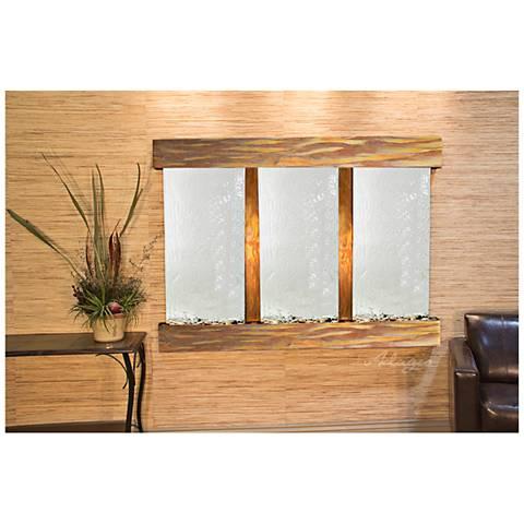 "Olympus Falls 54""H Rustic Silver Mirror Indoor Wall Fountain"
