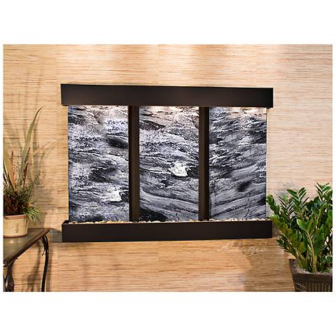 """Olympus Falls 54""""H Black Marble Indoor Copper Wall Fountain"""