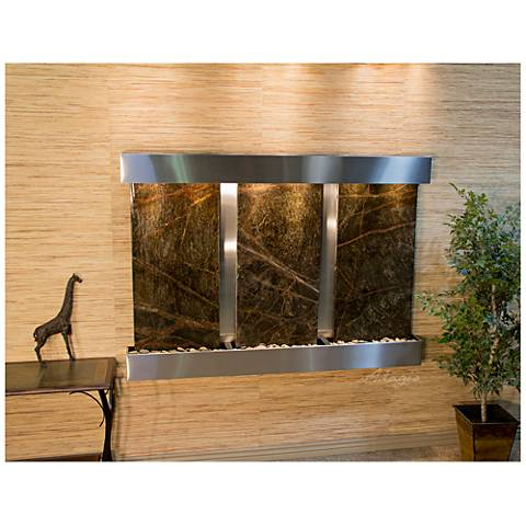 "Olympus Falls 54""H Green Marble Indoor Steel Wall Fountain"
