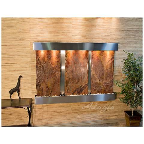 "Olympus Falls 54""H Brown Marble Indoor Steel Wall Fountain"