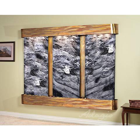 """Deep Creek Falls 69""""H Rustic Black Marble Fountain-Rnd Edges"""