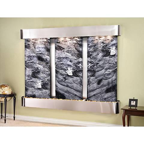 """Deep Creek Falls 69""""H Steel Black Marble Fountain-Rnd Edges"""