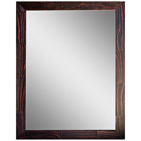 """Crestview Red Stain 31 1/2"""" x 41 1/2"""" Wood Wall Mirror"""