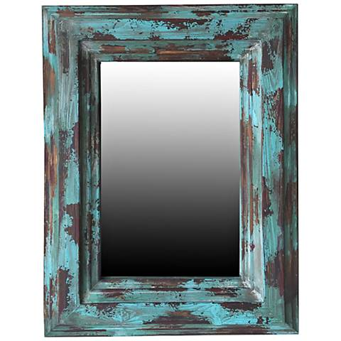 "Crestview Arlo Blue Paint 28 1/2"" x 37 1/2"" Wall Mirror"