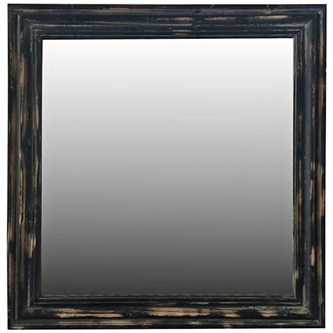 """Crestview Collection Tate Black Rub 30"""" Square Wall Mirror"""