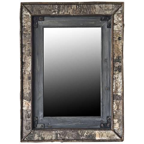 "Crestview Fozy Blackened 30 1/2"" x 38"" Wood Wall Mirror"