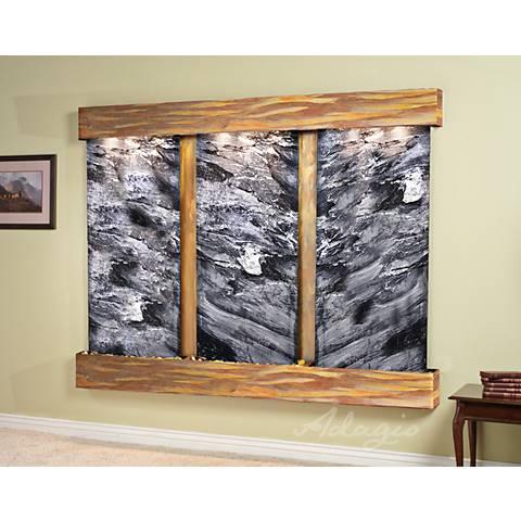 """Deep Creek Falls 69""""H Rustic Black Marble Fountain-Sq Edges"""