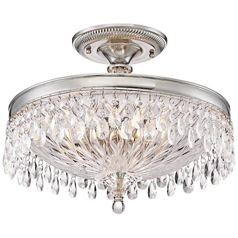 "Macey 16"" Wide Brushed Nickel Crystal Ceiling Light"